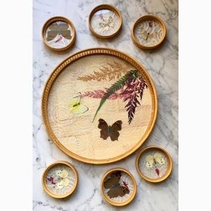 Vintage 70s Bamboo Butterfly Tray and Coaster Set